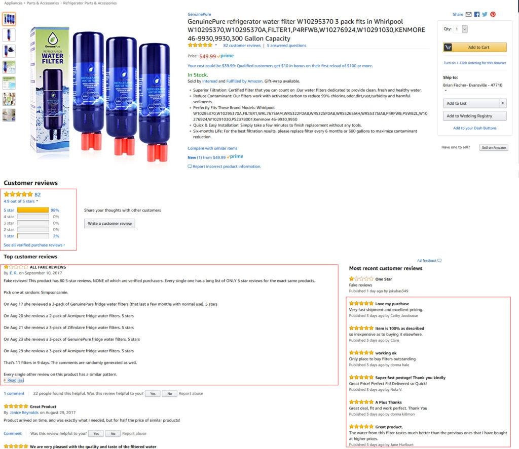 Fake reviews on Amazon